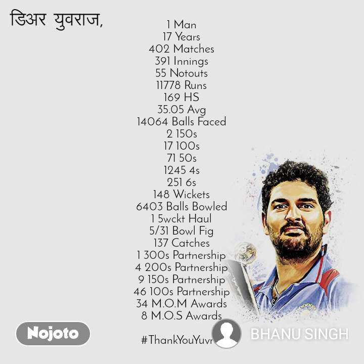डिअर युवराज  1 Man 17 Years 402 Matches 391 Innings 55 Notouts 11778 Runs 169 HS 35.05 Avg 14064 Balls Faced 2 150s 17 100s 71 50s 1245 4s 251 6s 148 Wickets 6403 Balls Bowled 1 5wckt Haul 5/31 Bowl Fig 137 Catches 1 300s Partnership 4 200s Partnership 9 150s Partnership 46 100s Partnership 34 M.O.M Awards 8 M.O.S Awards  #ThankYouYuvraj