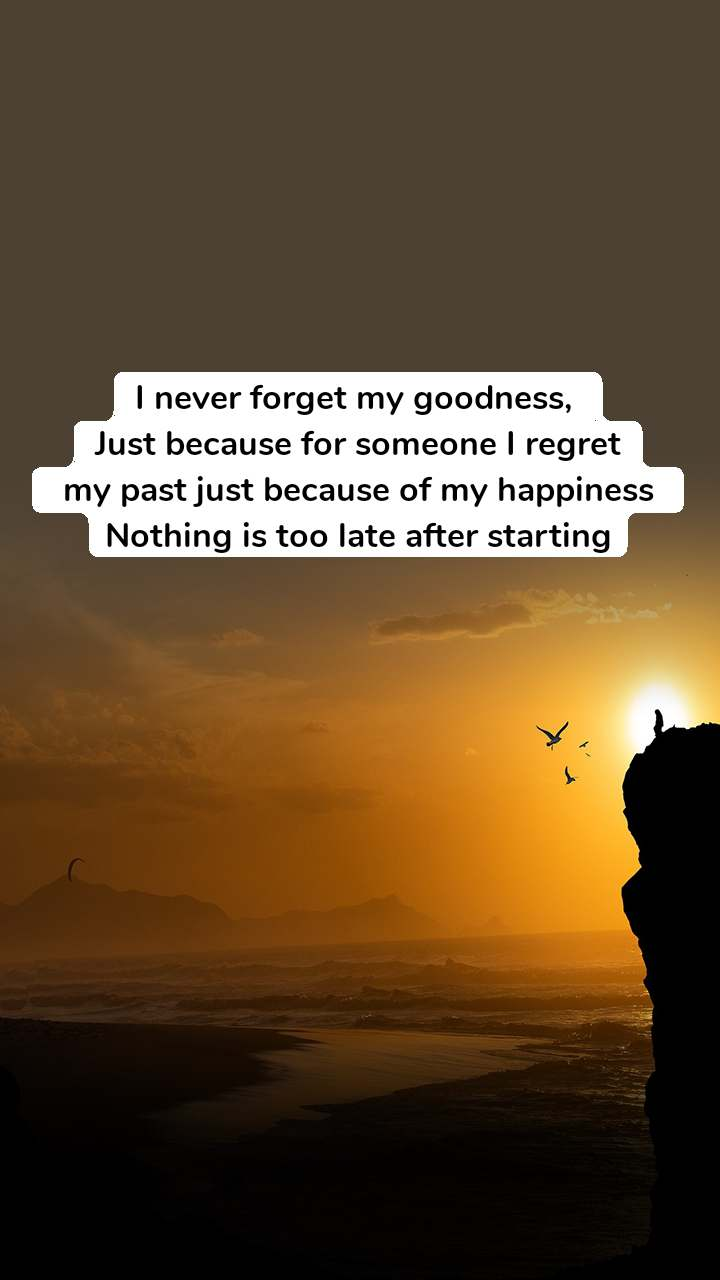 I never forget my goodness,  Just because for someone I regret  my past just because of my happiness  Nothing is too late after starting
