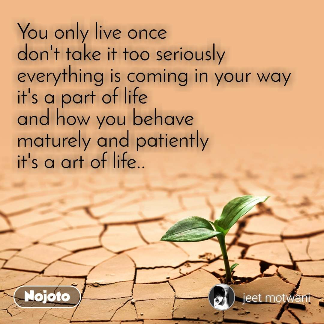 You only live once don't take it too seriously everything is coming in your way it's a part of life and how you behave maturely and patiently it's a art of life..