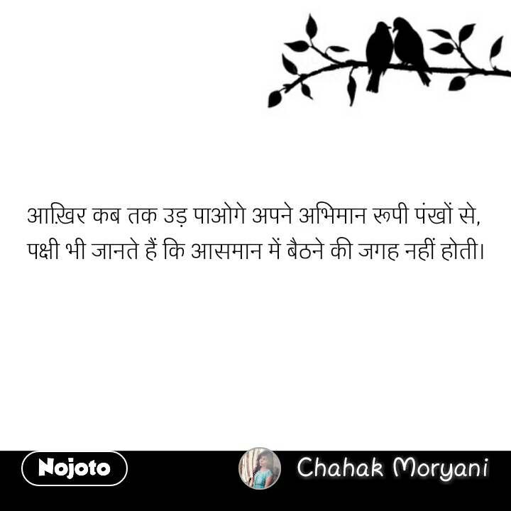 Prem quotes in hindi आख़िर कब तक उड़ पाओगे अपने अभिमान रूपी पंखों से,  पक्षी भी जानते हैं कि आसमान में बैठने की जगह नहीं होती। #NojotoQuote