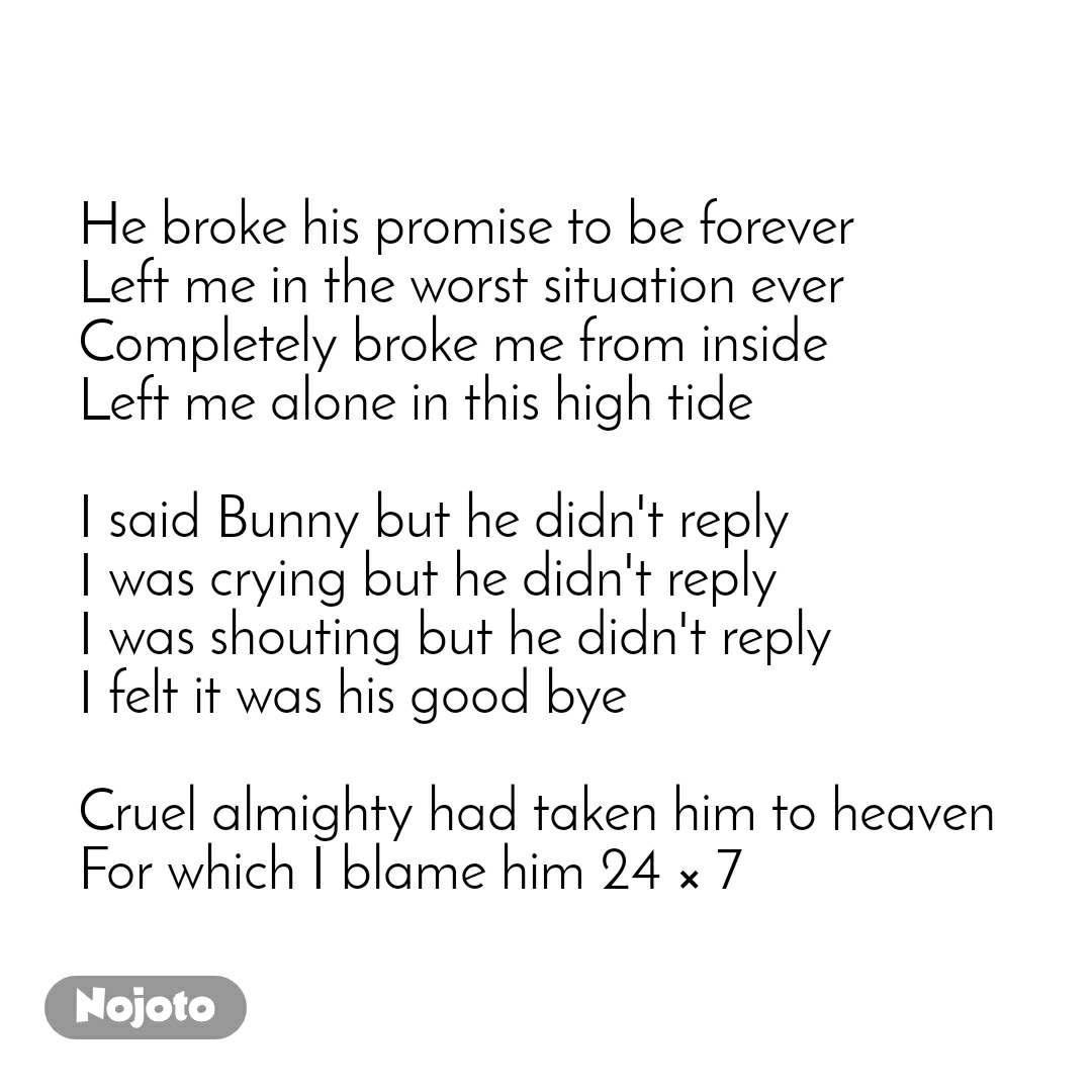 He broke his promise to be forever Left me in the worst situation ever Completely broke me from inside Left me alone in this high tide  I said Bunny but he didn't reply I was crying but he didn't reply I was shouting but he didn't reply I felt it was his good bye  Cruel almighty had taken him to heaven For which I blame him 24 × 7