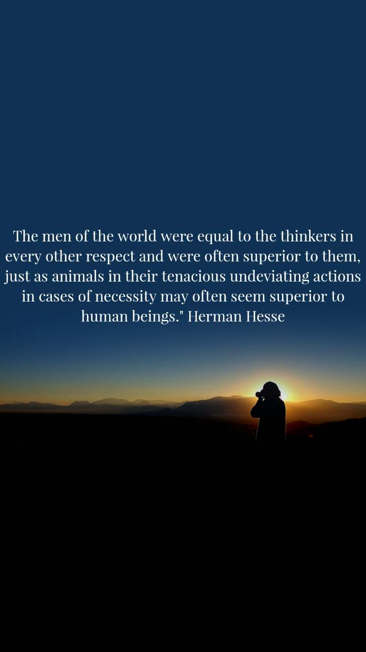 """The men of the world were equal to the thinkers in every other respect and were often superior to them, just as animals in their tenacious undeviating actions in cases of necessity may often seem superior to human beings."""" Herman Hesse"""