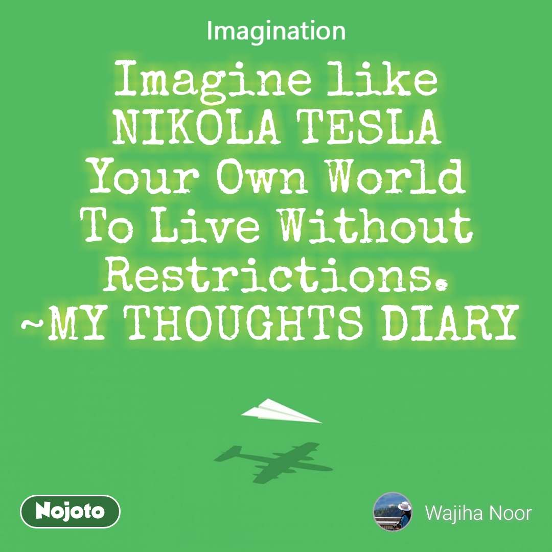 Imagination Imagine like  NIKOLA TESLA  Your Own World To Live Without Restrictions. ~MY THOUGHTS DIARY