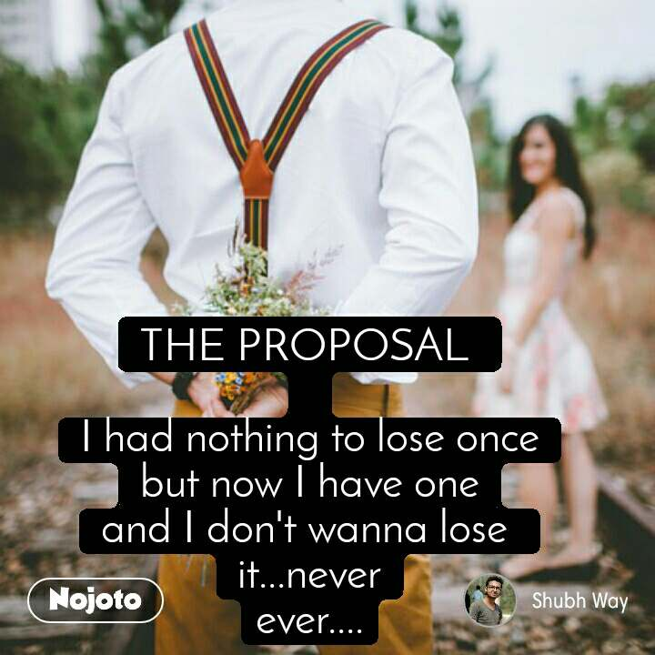 THE PROPOSAL   I had nothing to lose once but now I have one and I don't wanna lose  it...never ever....