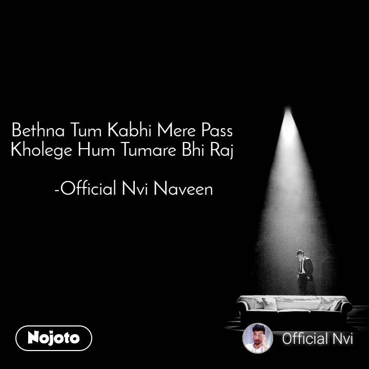 Bethna Tum Kabhi Mere Pass  Kholege Hum Tumare Bhi Raj       -Official Nvi Naveen