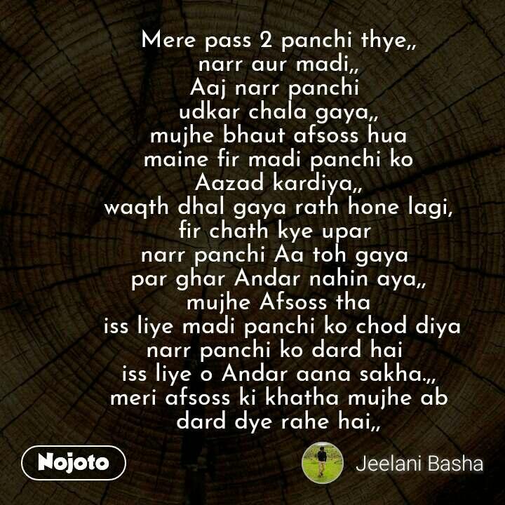 Mere pass 2 panchi thye,, narr aur madi,, Aaj narr panchi  udkar chala gaya,, mujhe bhaut afsoss hua maine fir madi panchi ko Aazad kardiya,, waqth dhal gaya rath hone lagi, fir chath kye upar  narr panchi Aa toh gaya  par ghar Andar nahin aya,, mujhe Afsoss tha  iss liye madi panchi ko chod diya narr panchi ko dard hai  iss liye o Andar aana sakha.,, meri afsoss ki khatha mujhe ab dard dye rahe hai,, #NojotoQuote