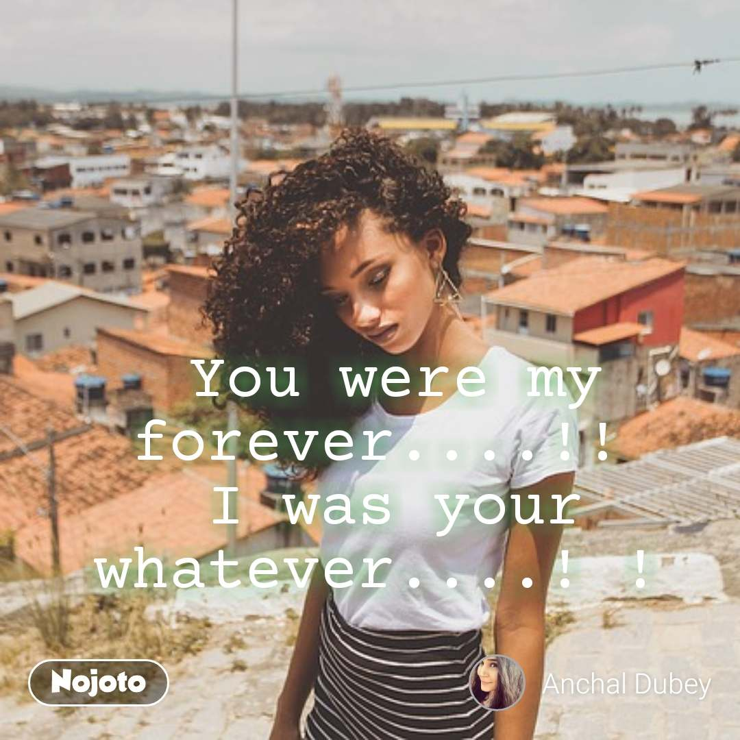 You were my forever....!!  I was your whatever....! !