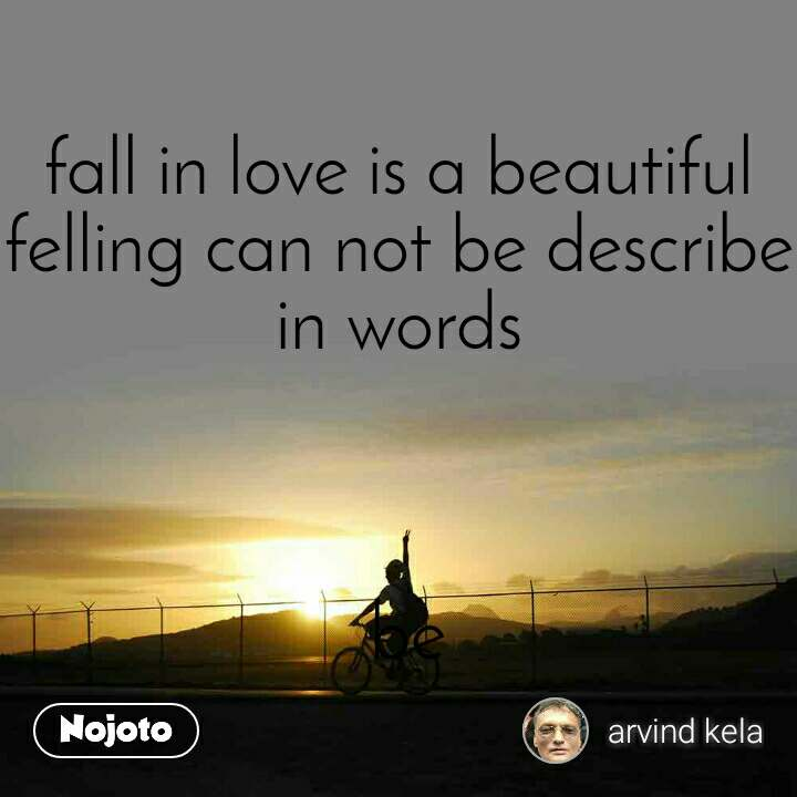 fall in love is a beautiful felling can not be describe in words     be