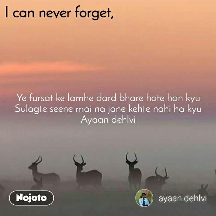 I can never forget Ye fursat ke lamhe dard bhare hote han kyu Sulagte seene mai na jane kehte nahi ha kyu Ayaan dehlvi