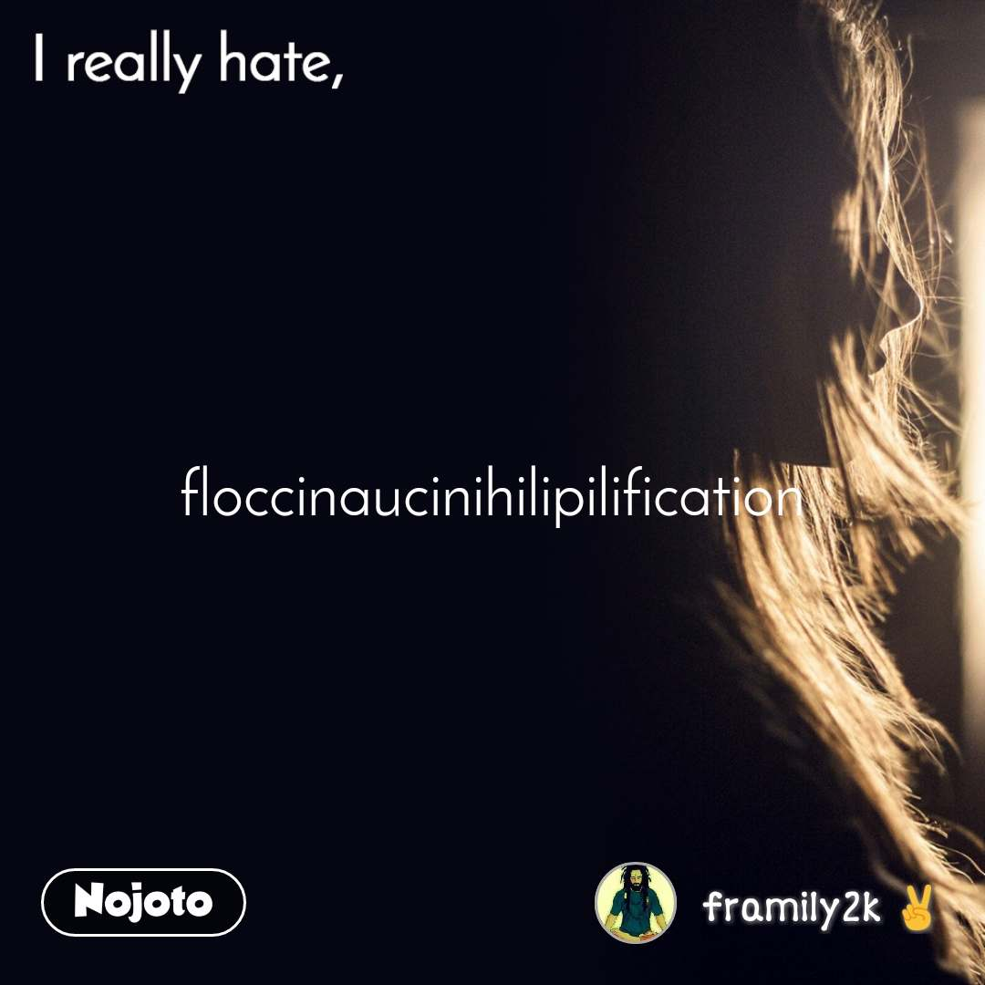I really hate  floccinaucinihilipilification