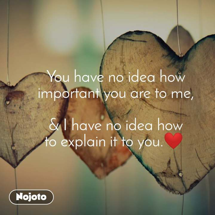 You have no idea how important you are to me,  & I have no idea how to explain it to you.❤