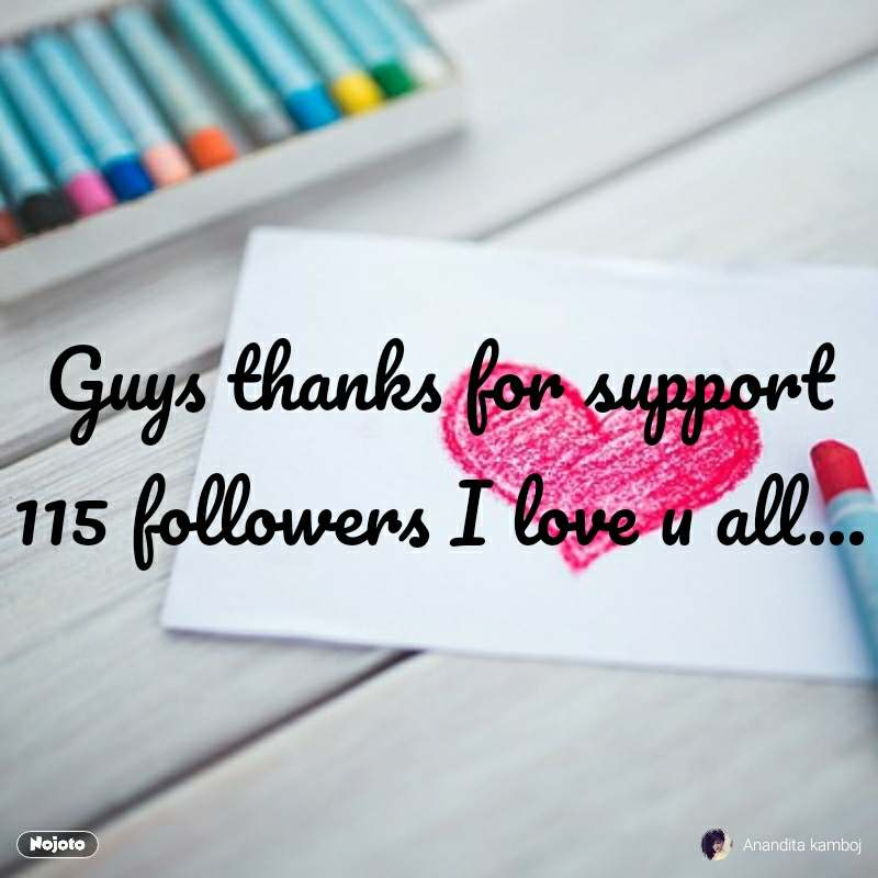 Guys thanks for support 115 followers I love u all...