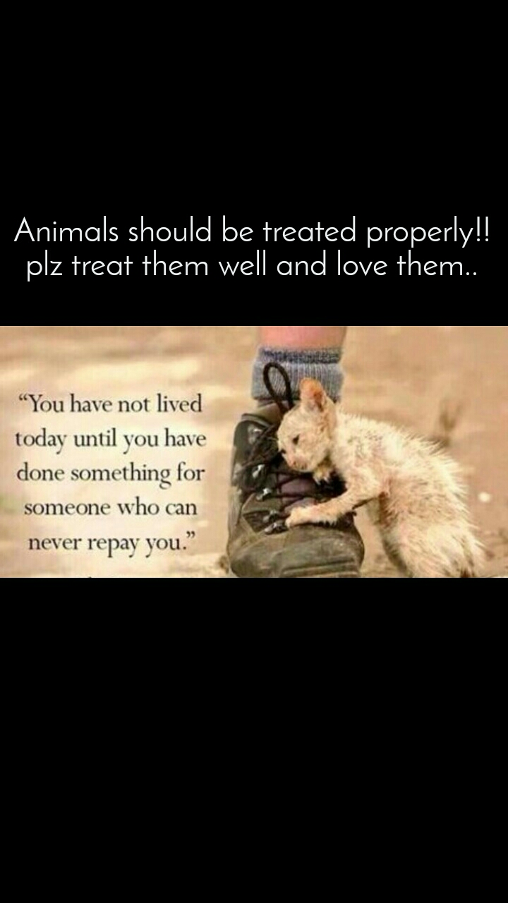 Animals should be treated properly!! plz treat them well and love them..
