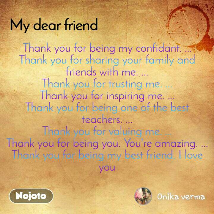 Thank You For Being My Confidant Thank You Fo Nojoto