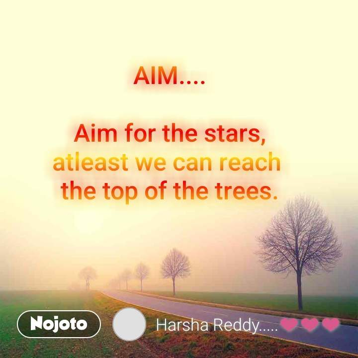 AIM....  Aim for the stars, atleast we can reach  the top of the trees.