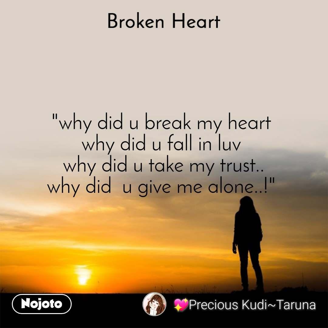 "Broken heart ""why did u break my heart  why did u fall in luv  why did u take my trust.. why did  u give me alone..!"""