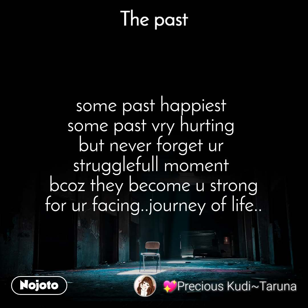 The past some past happiest  some past vry hurting  but never forget ur  strugglefull moment  bcoz they become u strong for ur facing..journey of life..