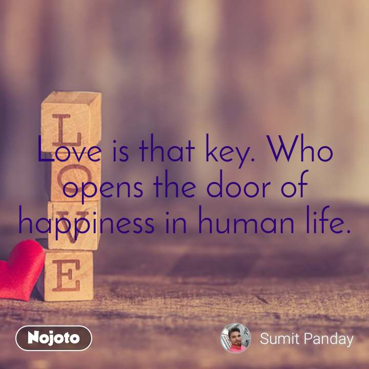 Love is that key. Who opens the door of happiness in human life.