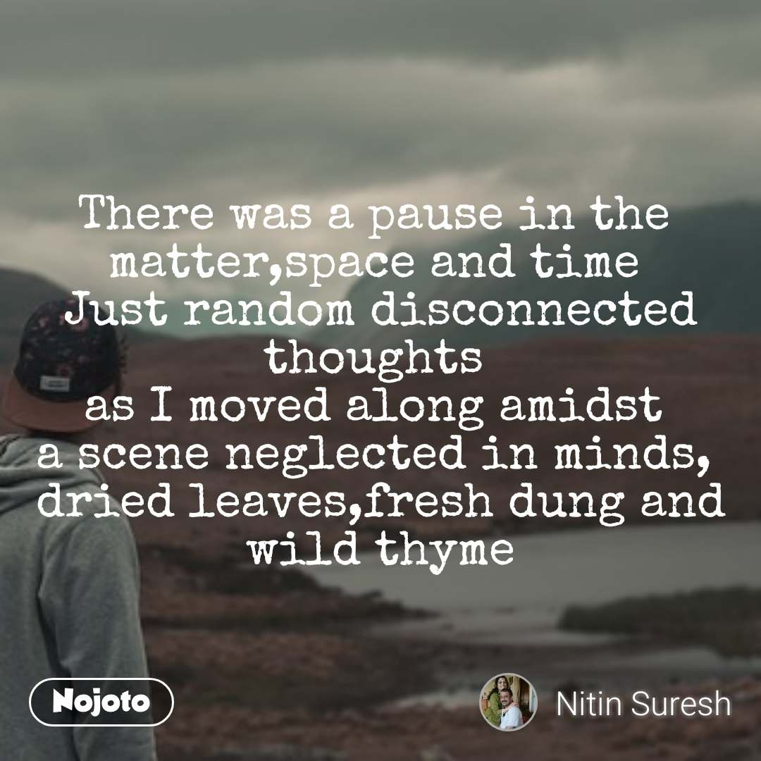 There was a pause in the  matter,space and time  Just random disconnected thoughts  as I moved along amidst  a scene neglected in minds,  dried leaves,fresh dung and wild thyme