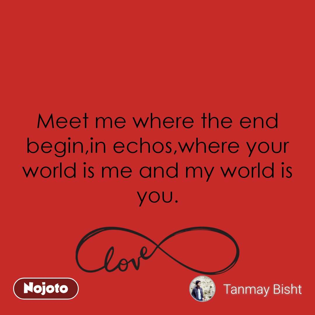 Meet me where the end begin,in echos,where your world is me and my world is you.