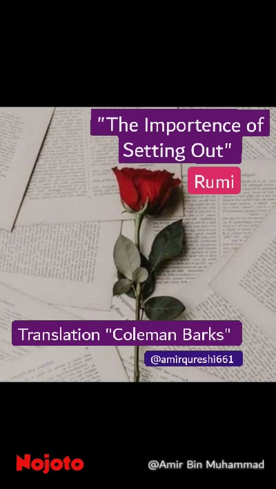 "Translation ""Coleman Barks""  ""The Importence of Setting Out""  Rumi @amirqureshi661"