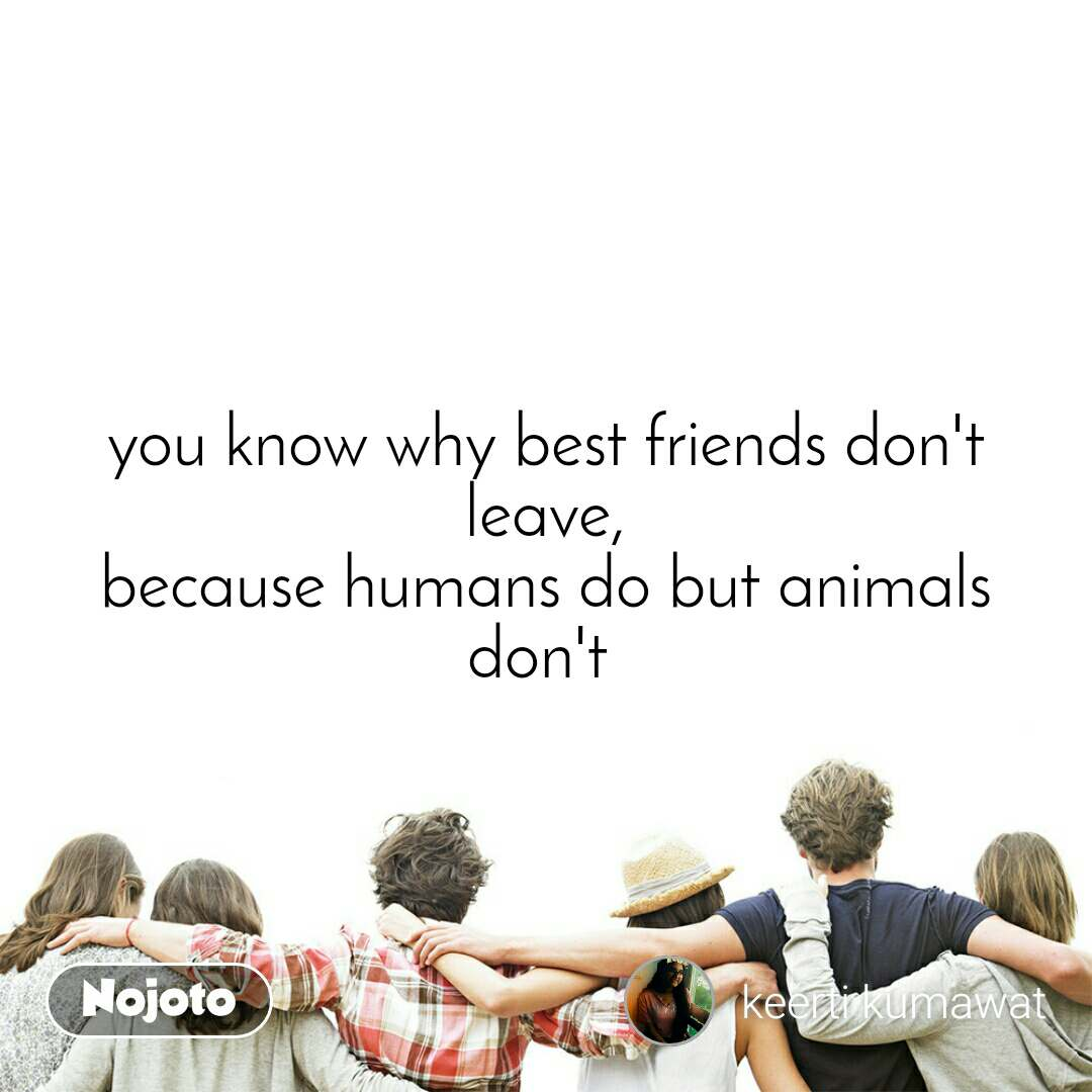 you know why best friends don't leave, because humans do but animals don't