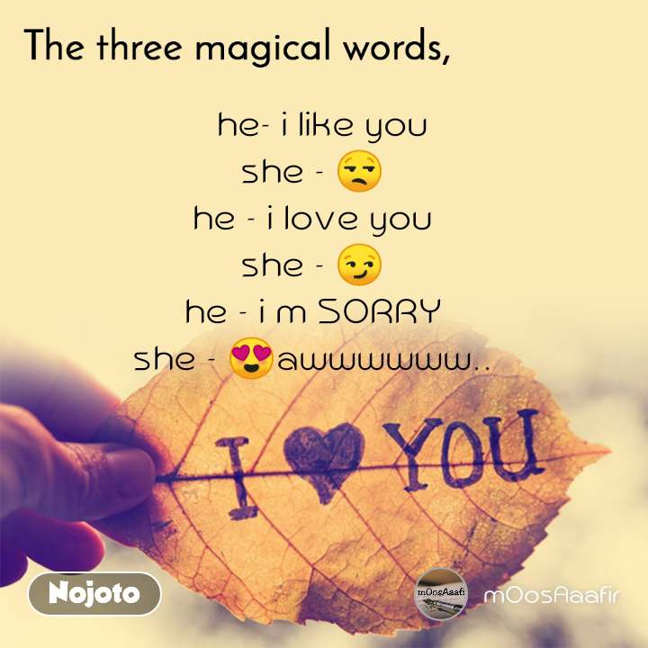 The three magical words   he- i like you she - 😒 he - i love you she - 😏 he - i m SORRY she - 😍awwwwww..