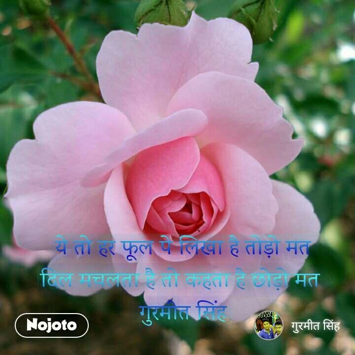 ये तो हर फूल पे लिखा है तोड़ो मत दिल मचलता है तो कहता है छोड़ो मत  गुरमीत सिंह