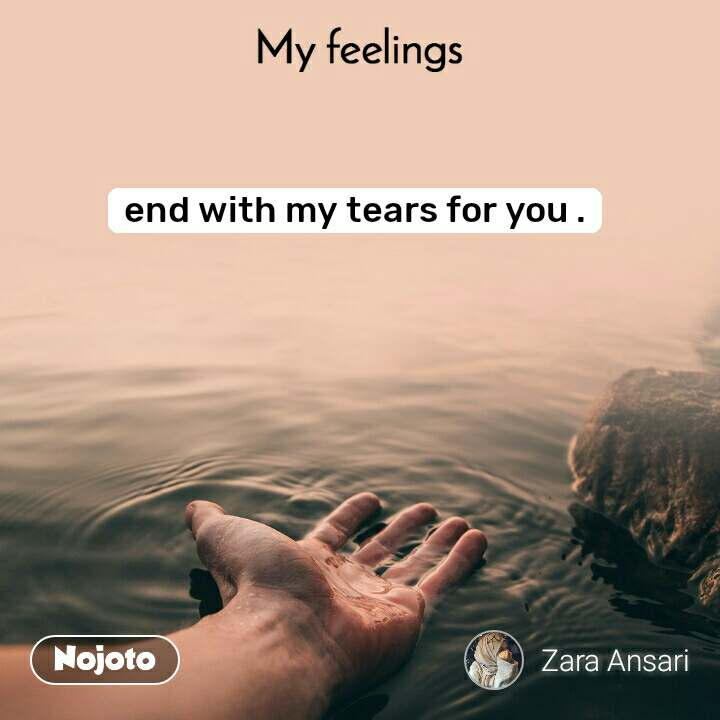 My feelings end with my tears for you .