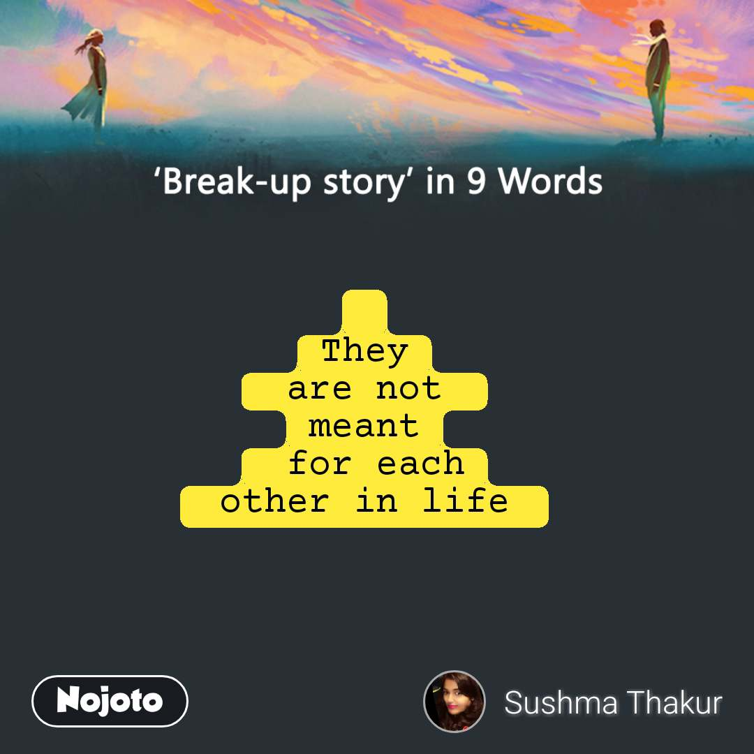 Break-up story in 9 Words  They  are not  meant  for each  other in life