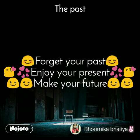 The past 😊Forget your past😊 😘💞Enjoy your present💞😘 😉😉Make your future😉😉