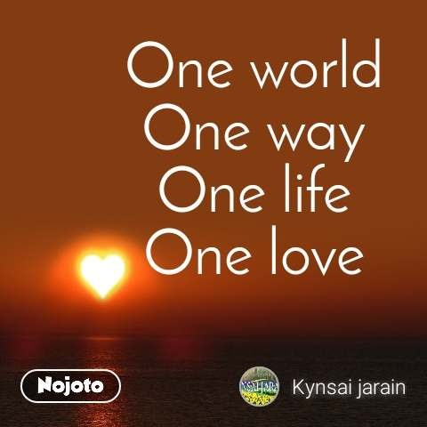 One world One way One life One love
