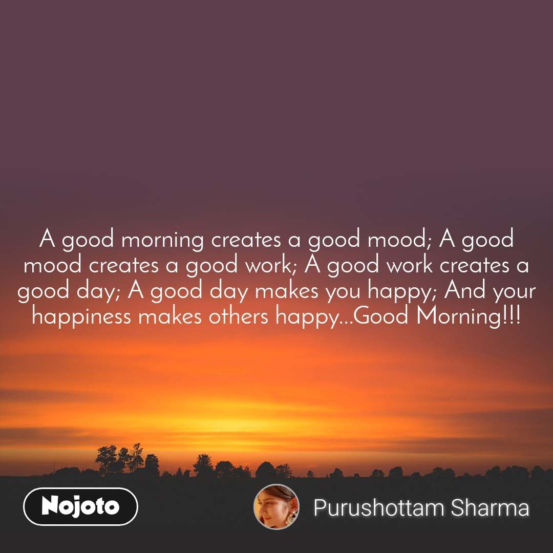 A good morning creates a good mood; A good mood creates a good work; A good work creates a good day; A good day makes you happy; And your happiness makes others happy...Good Morning!!!