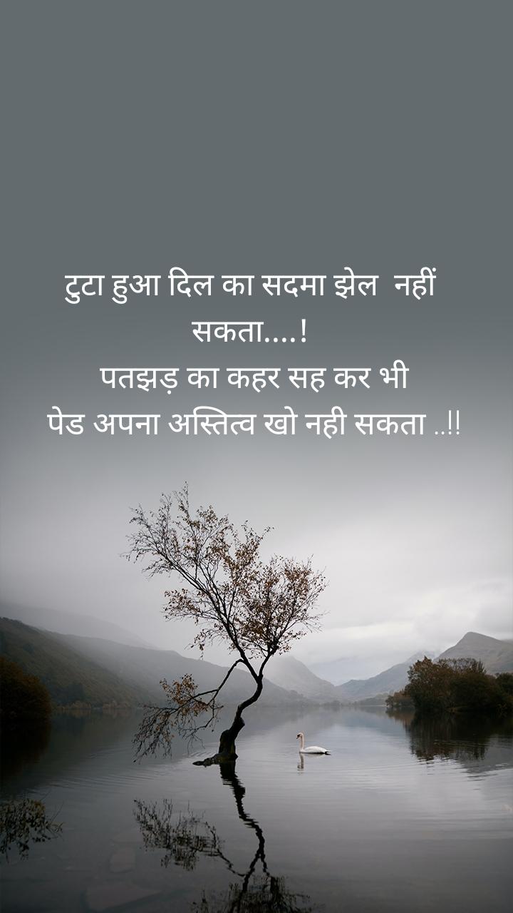 टुटा हुआ दिल का सदमा झेल  नहीं   सकता....!  पतझड़ का कहर सह कर भी  पेड अपना अस्तित्व खो नही सकता ..!!