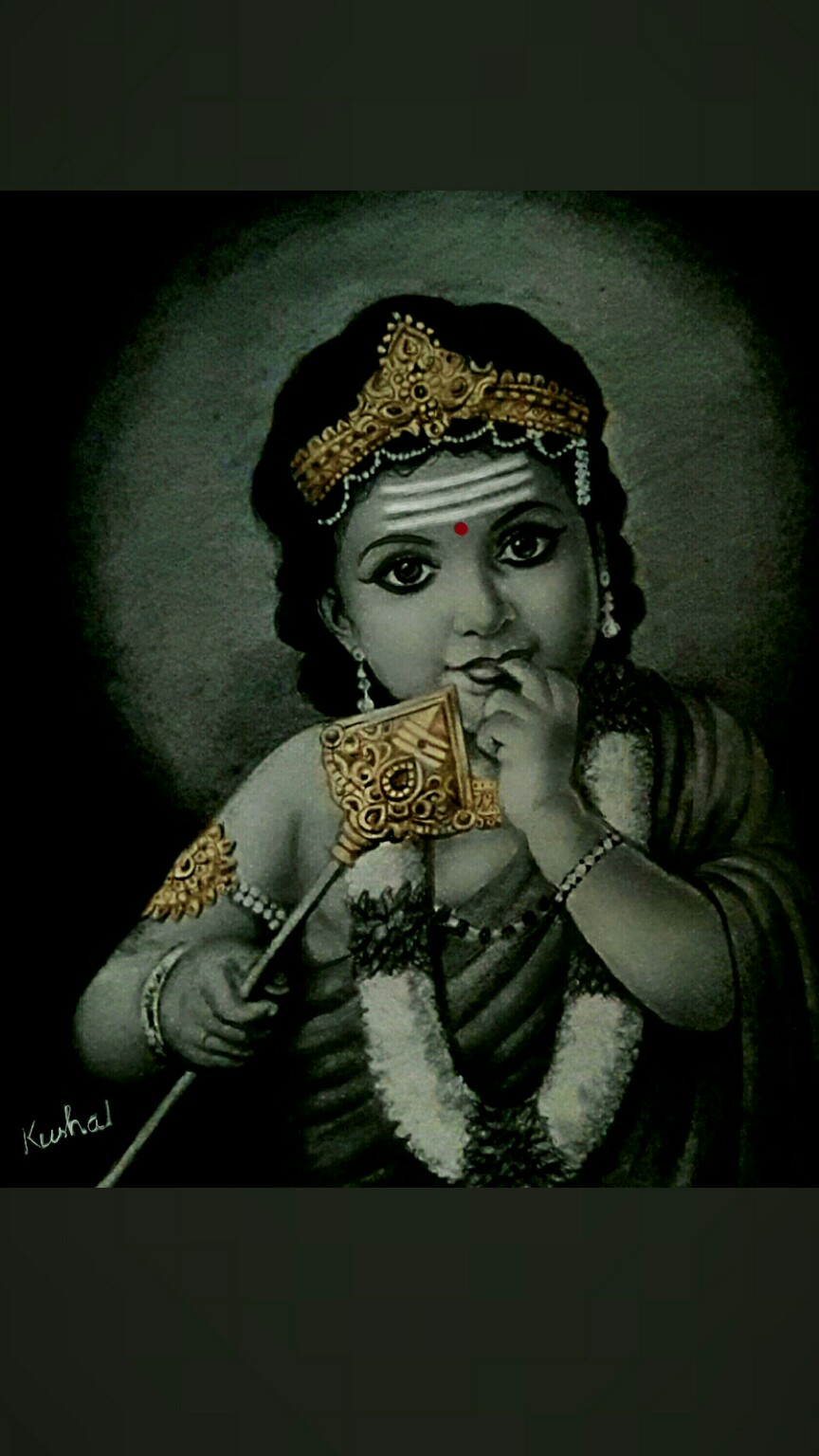 my painting of lord kartikey my painting